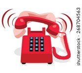 ringing red stationary phone... | Shutterstock .eps vector #268704563