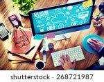 cloud computing network online... | Shutterstock . vector #268721987