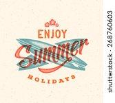 retro style summer card  emblem ... | Shutterstock .eps vector #268760603