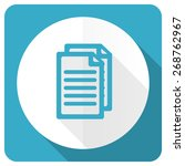 document blue flat icon pages... | Shutterstock . vector #268762967