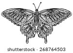 zentangle style butterfly vector | Shutterstock .eps vector #268764503