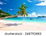 beautiful beach at seychelles ... | Shutterstock . vector #268792883