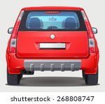 Vector Red Car   Back View  ...