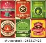 vintage camping poster design... | Shutterstock .eps vector #268817423