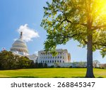 Us Capitol At Sunny Day ...