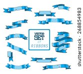 beautiful blue ribbons set for... | Shutterstock .eps vector #268854983