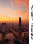bangkok skyline  evening in...   Shutterstock . vector #268858967