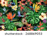 Tropical Flowers Watercolor...