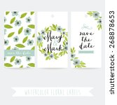 set of three watercolor floral... | Shutterstock .eps vector #268878653