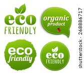 ecology green labels with...   Shutterstock .eps vector #268886717