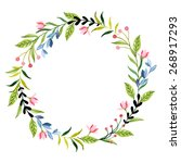 vector watercolor flowers... | Shutterstock .eps vector #268917293