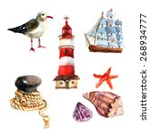 Watercolor Nautical Elements...