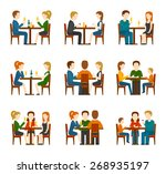 group of people eating and... | Shutterstock .eps vector #268935197
