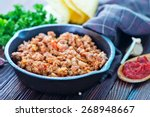 a bowl of fried ground meat... | Shutterstock . vector #268948667
