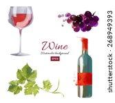 watercolor vector set of wine... | Shutterstock .eps vector #268949393
