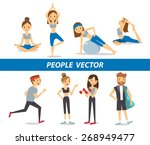 fitness and yoga poses | Shutterstock .eps vector #268949477