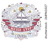 hand drawn vintage label with a ... | Shutterstock .eps vector #268961027