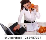 girl at office   stress  | Shutterstock . vector #268987337