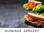 sandwich with tomato  salami ... | Shutterstock . vector #269012327