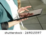 businesswoman using digital... | Shutterstock . vector #269015597