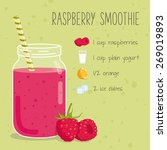 raspberry smoothie recipe | Shutterstock .eps vector #269019893