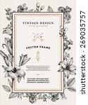 vintage floral card. frame with ... | Shutterstock .eps vector #269035757