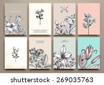 Vintage Floral Cards Set. Frame with Engraving Flowers. Botanical Illustration with Roses, Lilies and other Flowers. Retro Graphic Style. | Shutterstock vector #269035763