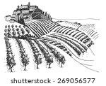 vineyard landscape ink pen... | Shutterstock .eps vector #269056577