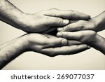 two hands  hands that  take... | Shutterstock . vector #269077037