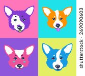 vector welsh corgi pop art  | Shutterstock .eps vector #269090603
