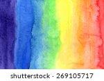 abstract watercolor rainbow... | Shutterstock . vector #269105717