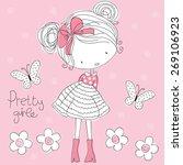 pretty girl vector illustration  | Shutterstock .eps vector #269106923