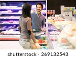 couple shopping at the grocery... | Shutterstock . vector #269132543