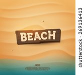 Wooden Realistic Beach Sign On...