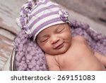 smiling eight day old newborn... | Shutterstock . vector #269151083