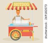 hot dog cart with seller  ... | Shutterstock .eps vector #269182073