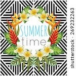 tropic paradise flowers and...   Shutterstock .eps vector #269232263