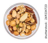 Various Nuts In Glass Bowl...