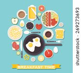 vector breakfast time... | Shutterstock .eps vector #269273693