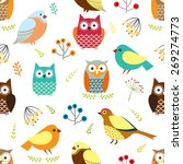 Seamless Pattern With Owls ...
