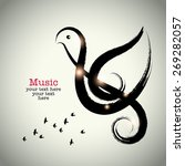 Grunge Drawing Black Clef With...