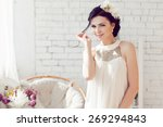 gorgeous bride with wedding...   Shutterstock . vector #269294843