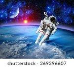 astronaut spaceman space suit... | Shutterstock . vector #269296607