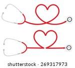 stethoscope heart shape ... | Shutterstock .eps vector #269317973