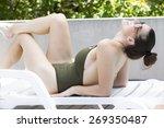 cute latina girl wearing a dark ... | Shutterstock . vector #269350487