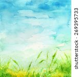 watercolor background. grass... | Shutterstock .eps vector #269395733