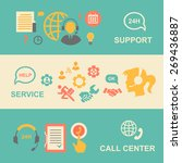 call center  banners set with... | Shutterstock . vector #269436887
