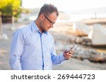 young tourist in shirt with... | Shutterstock . vector #269444723