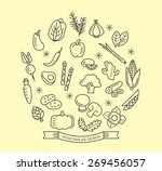 vegetable line icons with... | Shutterstock .eps vector #269456057