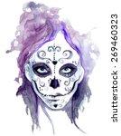zombie girls head. sugar skull... | Shutterstock .eps vector #269460323